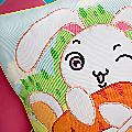 Pillow Cushion Cartoon Embroidered Bunny & Carrot