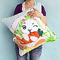 Pillow Cushion Cartoon Embroidered Bunny & Carrot Art Design
