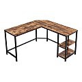Computer Desk L-shape Wood And Metal Frame With 2 Shelves, Brown And Black