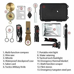 Outdoor Survival Gear - 14 in 1 Tactical Camping Tools and Gadgets