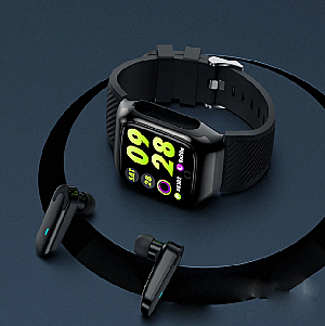 Fitness Smartwatch - 2 in 1 with Built-In Wireless Bluetooth Earbuds